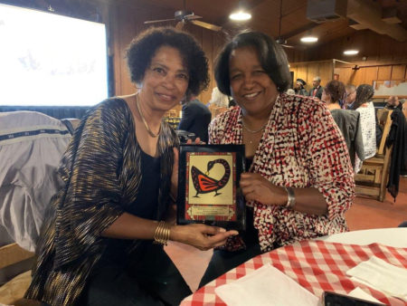 Connie Hargrave and Anita Rollins accepting award.